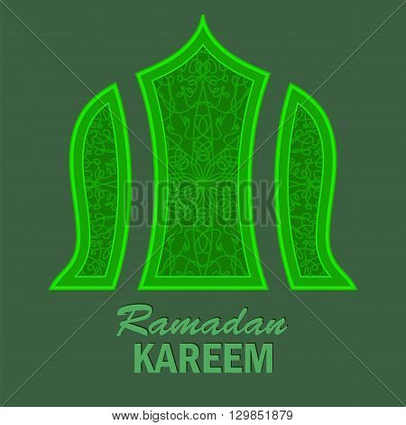 Ramadan Greeting Card on Green Background. Ramadam Kareem Holyday.