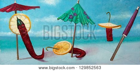 after the tourists original oil painting on canvas, abstract impressionism painting of spice pepper on the beach with cocktail umbrellas and dry orange slices on the beach, summer abstraction painting