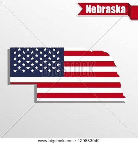 Nebraska State map with US flag inside and ribbon
