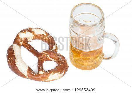 pretzel and beer mug over white background