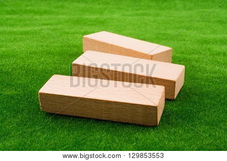 Some wooden dominos on a green grass