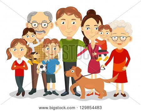 Big and happy family portrait with children, parents, grandparents vector illustration