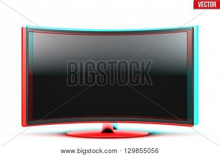 Frontal view of curved widescreen led or lcd tv monitor with visual Anaglyph stereoscopic effect. Vector Illustration isolated on white