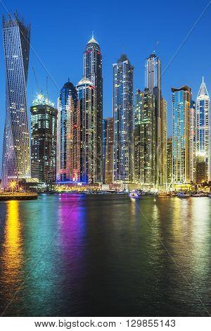 Vertical view of Skyscrapers in Dubai UAE.