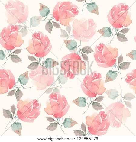 Background with beautiful roses. Seamless pattern with hand-drawn flowers 51