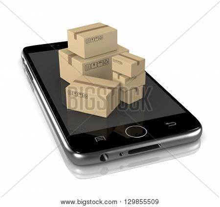 Smartphone with Heap of Cardboard Boxes on White Background 3D Illustration Online Shipment Services Concept