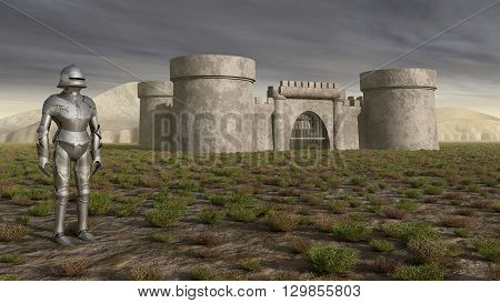 Computer generated 3D illustration with knight and medieval castle