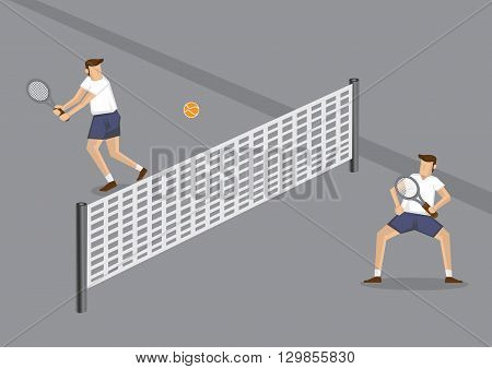 Vector cartoon illustration of two male tennis players playing a game using orange tennis ball in grey tennis court with low net across center.