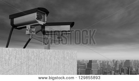 Computer generated 3D illustration with a surveillance camera over a city