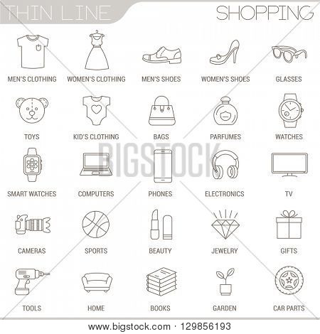 Thin line online shop icon set.