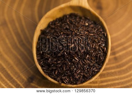 Psyllium Seeds On Wooden Spoon