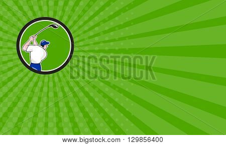 Business card showing illustration of a golfer playing golf swinging club tee off viewed from back rear set inside circle on isolated background done in cartoon style.