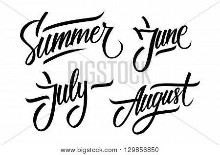 Summer. June, July, August. Summer months lettering. Calligraphic season inscription. Vector handwritten typography.