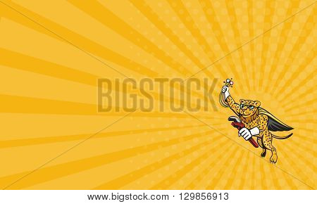 Business card showing illustration of a caped superhero leopard cat refrigeration and air conditioning mechanic holding a pressure temperature gauge and a wrench flying on isolated white background done in cartoon style.