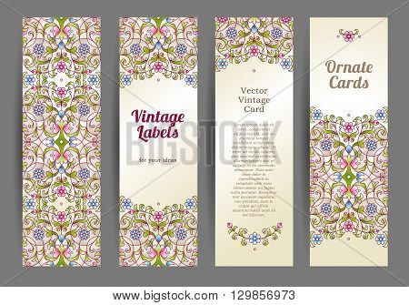 Vector Set Of  Eastern Floral Card.