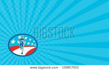 Business card showing illustration of a marathon runner viewed from front set inside oval shape with usa flag stars and stripes in the background done in retro woodcut style.