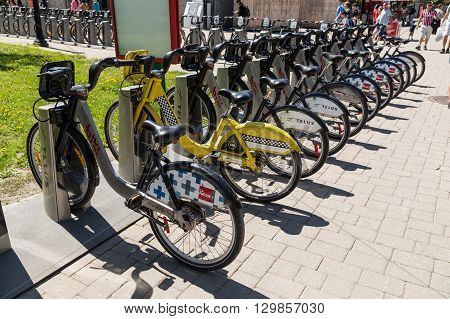 MONTREAL CANADA - 17TH MAY 2015: Public bike shares at docks in Montreal during the day.
