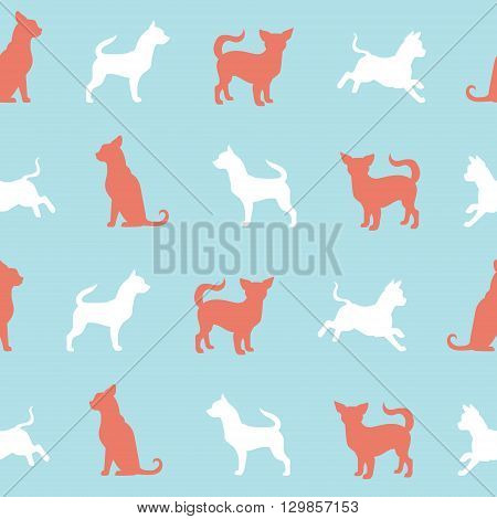 Vector chihuahua small dog pattern. Animals silhouettes seamless background. Design for clothes, gifts and so on. Vector illustration.