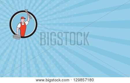 Business card showing illustration of a mechanic wearing hat and overalls lifting raising up spanner wrench holding toolbox looking to the side viewed from front set inside circle on isolated background done in cartoon style.