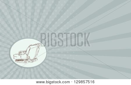 Business card showing etching engraving handmade style illustration of a construction digger mechanical excavator viewed from side set on isolated background.