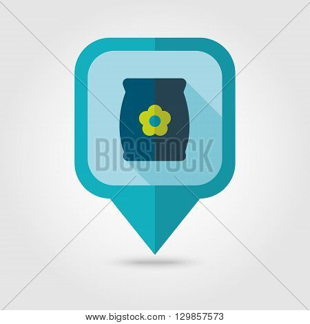 Bag sack flower seed flat vector pin map icon. Map pointer. Map markers. Garden eps 10