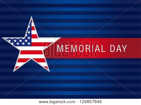 Memorial Day USA banner. Memorial Day with star in national flag colors vector greeting card