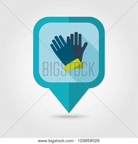 Rubber garden gloves flat vector pin map icon. Map pointer. Map markers. Icon rubber gloves for working in the garden. Icon household rubber gloves. Vector illustration.