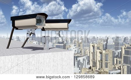 Computer generated 3D illustration with a security camera over a city