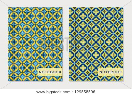 Notebook cover designs. Two exercise books with abstract blue and yellow patterns isolated on white background. Oriental style collection. Vector set.