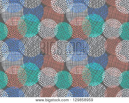 Doodle circles pattern. Doodles round spots vector background. Simple doodle circles with lines and curves. Pencil effect doodle pattern. Summer colors texture. Pencil colorful sketches.