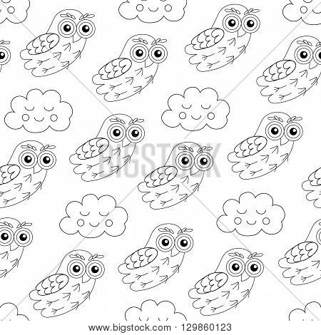 Night owl and sleep clouds vector seamless pattern.