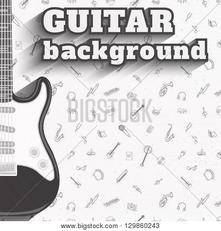 Electric guitar background. Music pattern vector illustration.