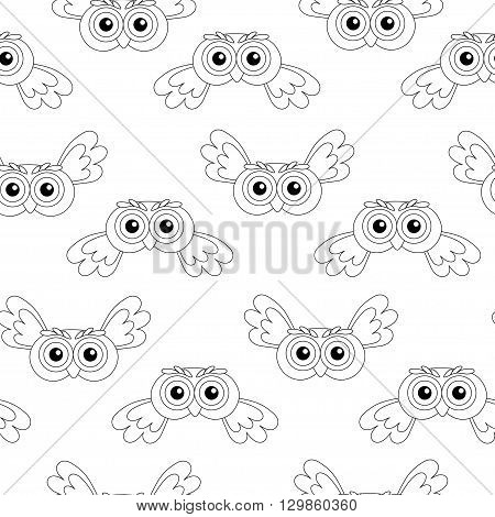 flying owl vector seamless pattern. vector illustration owl.