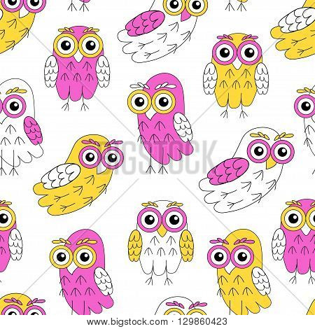 Owlet vector seamless pattern. vector illustration owl.