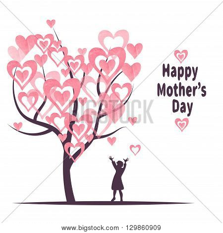 Mother's Day greeting card template. Blossoming tree with hearts as leaves and silhouette of little girl. Vector illustration. Concept of happy childhood.
