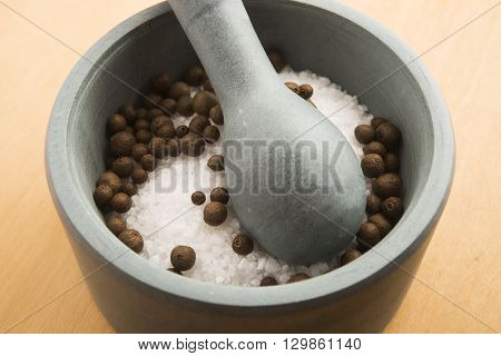 Mortar Pestle And Salt