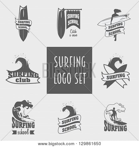 Surfing Labels, Badges And Design Elements With Surfer, Wave And Surfboard.