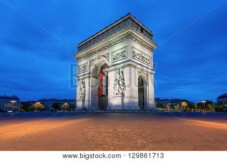 Arc de Triomphe at sunset in Paris France - Arch of Triumph