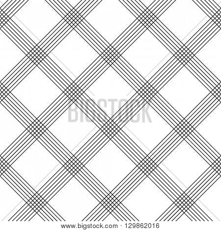 Seamless Tartan Pattern. Vector Black and White Background. Abstract Plaid Ornament. Diagonal Line Pattern