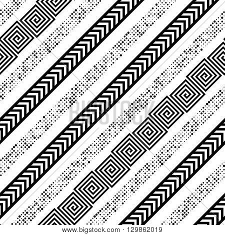Seamless Diagonal Stripe Pattern. Vector Black and White Background. Abstract Geometric Ornament. Monochrome Striped Wallpaper