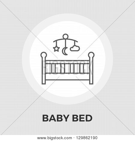 Baby bed icon vector. Flat icon isolated on the white background. Editable EPS file. Vector illustration.