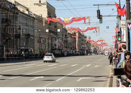St. Petersburg, Russia - 1 May, The decorated Nevsky Prospect to the first day of May, 1 May, 2016. Day festive demonstration on the Nevsky Prospect in St. Petersburg, the first of May.