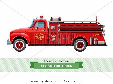 Classic Medium Duty Fire Truck Side View