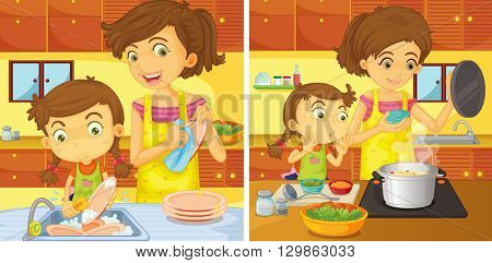 Girl helping mom in the kitchen illustration
