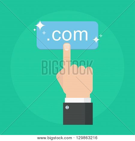 Domain name concept vector illustration. Register domain name in flat style of illustration. Choosing commercial domain name and web hosting. Search domain name.