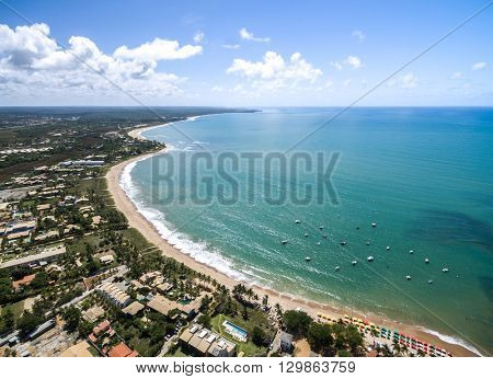 Aerial View of Coastline North of Bahia, Brazil