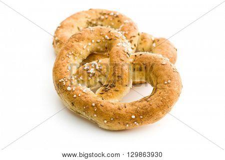 tasty salted pretzel isolated on white background
