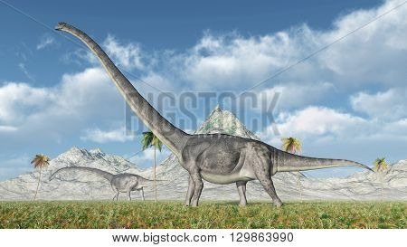 Computer generated 3D illustration with the dinosaur Omeisaurus
