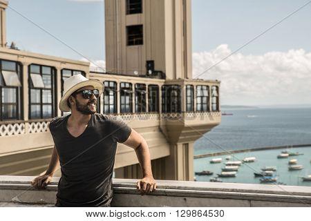 Tourist enjoying a nice view in Salvador, Bahia, Brazil