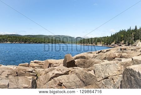 Quiet bay in late summer in Acadia National Park
